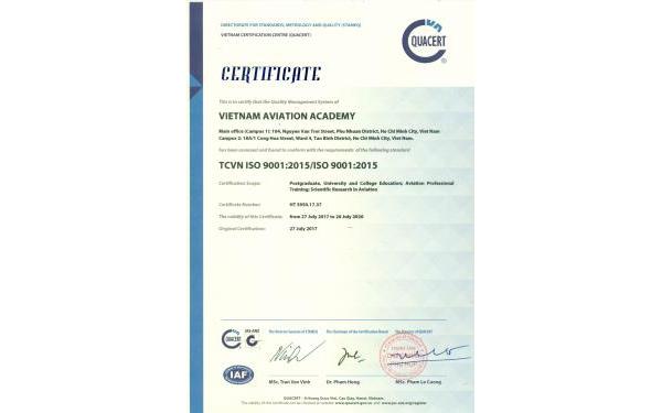 Giấy Chứng Nhận ISO0001